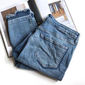 Old Navy Mid Rise Undone Raw Hem Skinny Jeans